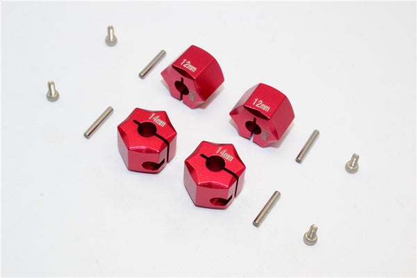 Aluminum Wheel Hex Adapter 14mmx12mm - 4Pcs Set Red