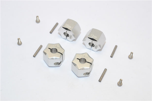 Aluminum Wheel Hex Adapter 14mmx12mm - 4Pcs Set Silver