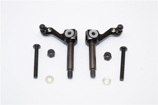 Tamiya Lunch Box Aluminum Front Knuckle Arm - 1Pr Set Black
