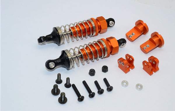 Tamiya Lunch Box Aluminum Front Adjustable Spring Damper (70mm) & Protector Mount - 1Pr Set Orange