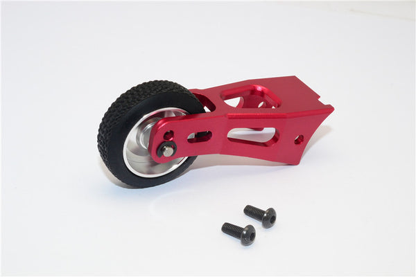 Tamiya Lunch Box Aluminum Rear Wheelie Bar - 1 Set Red