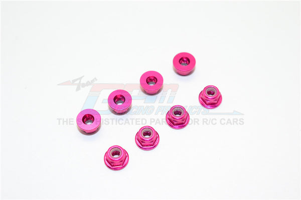 Aluminum 3mm Flanged Lock Nuts - 8Pcs Pink