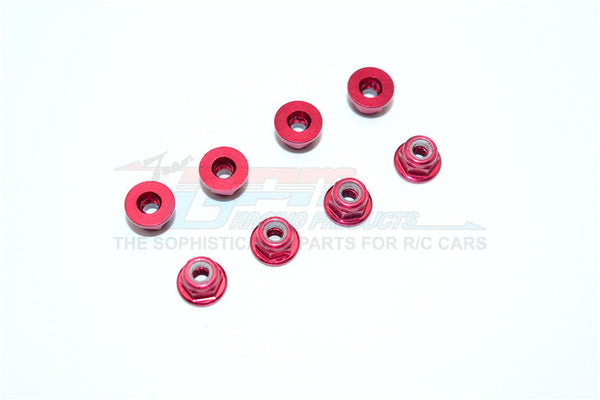 Aluminum 3mm Flanged Lock Nuts - 8Pcs Red