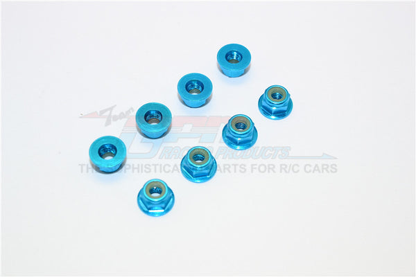 Aluminum 4mm Flanged Lock Nuts - 8Pcs Light Blue