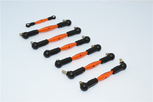 Team Losi Mini 8ight Buggy Aluminum Tie Rod With Plastic Black Ball Ends - 7Pcs Set Orange