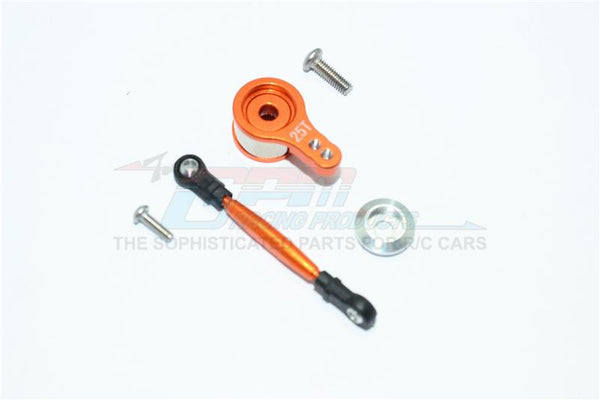 Team Losi Mini 8ight Buggy Aluminum Servo Saver With Steering Link - 1 Set Orange