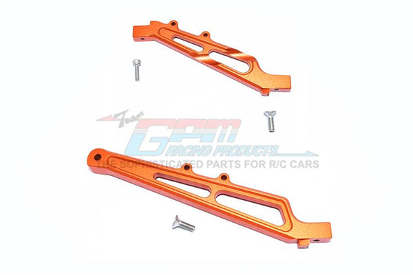 Arrma LIMITLESS / INFRACTION Aluminum Front + Rear Chassis Brace - 2Pc Set Orange