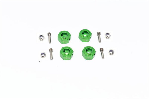 Arrma GRANITE 4X4 / BIG ROCK CREW CAB 4X4 3S / SENTON 4X4 3S Aluminium Hex Adapter (12mmx7mm) - 4Pc Set Green
