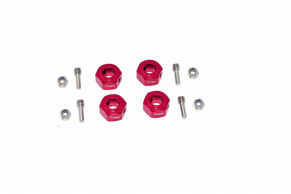 Arrma GRANITE 4X4 / BIG ROCK CREW CAB 4X4 3S / SENTON 4X4 3S Aluminium Hex Adapter (12mmx7mm) - 4Pc Set Red