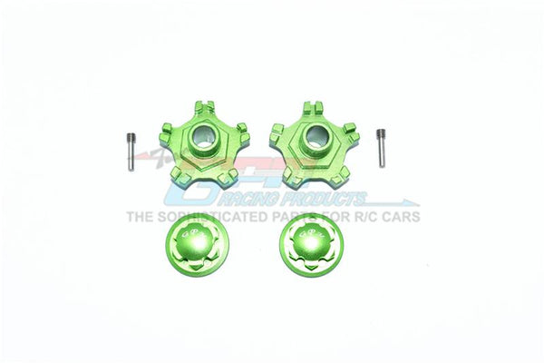 Arrma INFRACTION 6S BLX Aluminum Wheel Hex (+6mm) + Wheel Lock - 4Pc Set Green