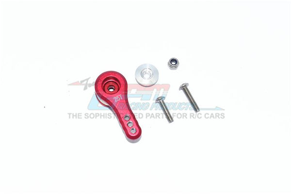 Arrma 1/8 KRATON / OUTCAST / NOTORIOUS / TYPHON, 1/7 INFRACTION / LIMITLESS Aluminum 25T Servo Horn With Built-In Spring (3 Positioning Holes) - 5Pc Set Red