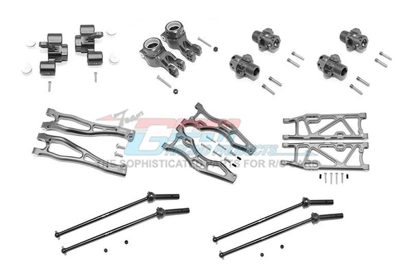 Arrma KRATON 6S BLX / OUTCAST 6S BLX Aluminum F Upper + Lower Arms, R Lower Arms, F+R Knuckle Arms, CVD Drive Shaft, 13mm Hex - Combo Pack 56Pc Set Gray Silver