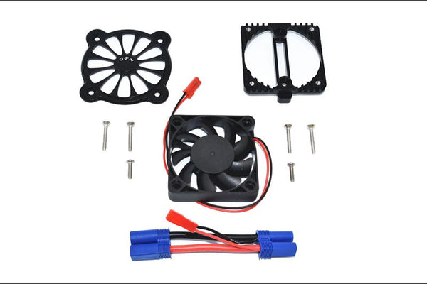 Arrma 1:10 KRATON 4S BLX / SENTON 3S BLX Aluminum Motor Heatsink With Cooling Fan - 1 Set Black