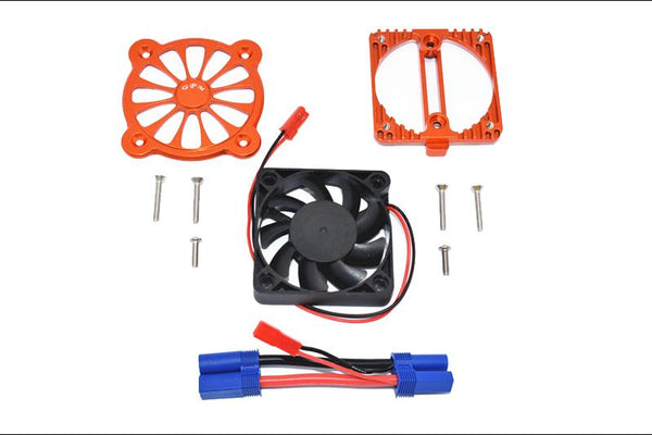 Arrma 1:10 KRATON 4S BLX / SENTON 3S BLX Aluminum Motor Heatsink With Cooling Fan - 1 Set Orange