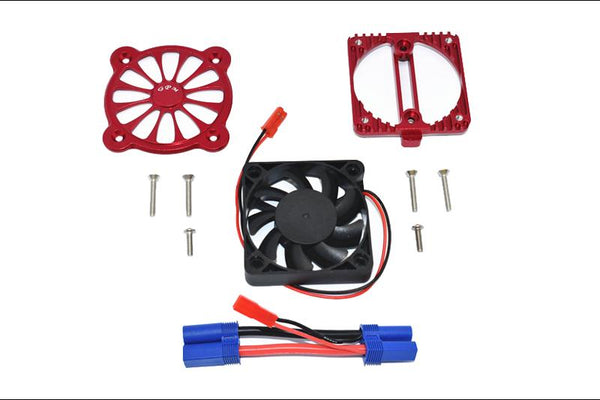 Arrma 1:10 KRATON 4S BLX / SENTON 3S BLX Aluminum Motor Heatsink With Cooling Fan - 1 Set Red