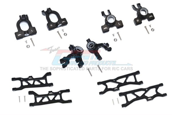 Arrma 1/10 KRATON 4S BLX Aluminum Front C-Hubs + Front & Rear Knuckle Arms + Front & Rear Lower Arms - 28Pc Set Black