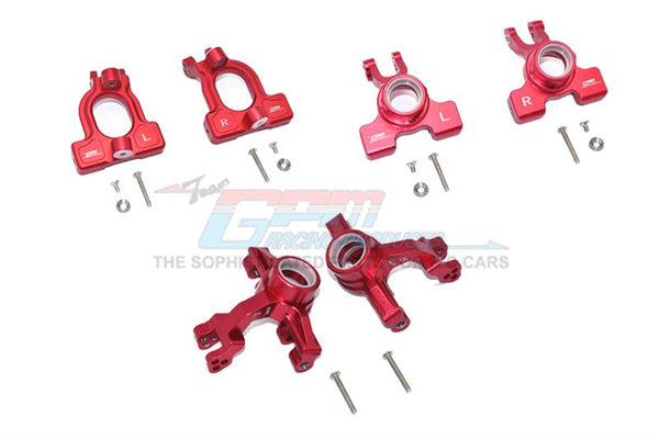 Arrma 1/10 KRATON 4S BLX Aluminum Front C-Hubs + Front & Rear Knuckle Arms - 20Pc Set Red