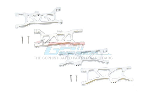 Arrma 1/10 KRATON 4S BLX Aluminum Front & Rear Lower Arms - 4Pc Set Silver