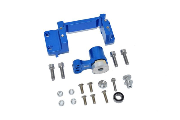 Arrma 1:5 KRATON 8S BLX / 1:5 OUTCAST 8S BLX Aluminum Servo Mount +25T Aluminum Servo Horn With Built-In Spring - 19Pc Set Blue