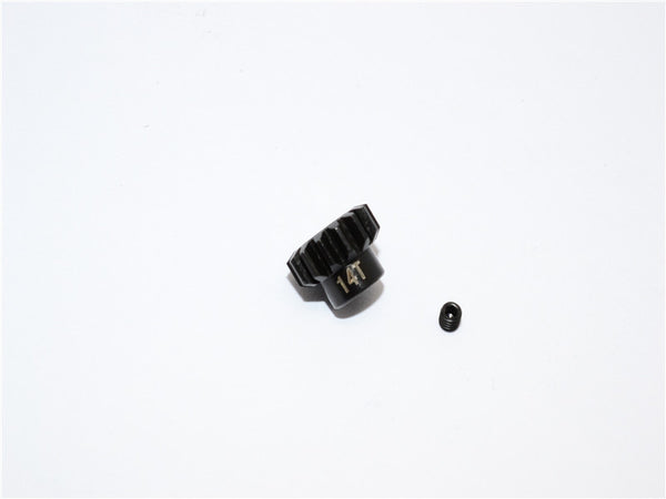 Steel Motor Gear 32 Pitch 14T (3.17mm Hole) For 05/540/360 Motor - 1Pc Set Black