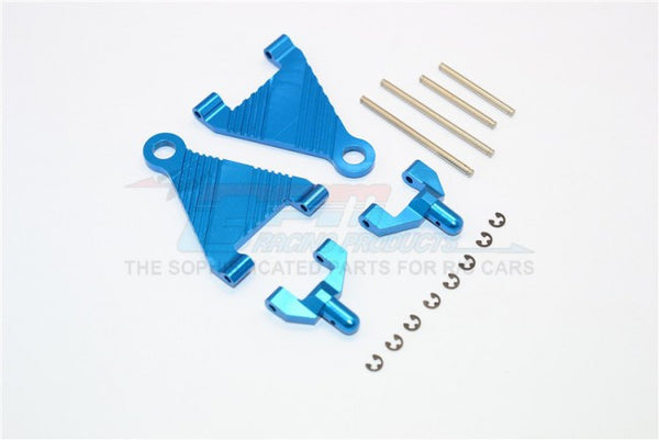 Kyosho Mini Inferno Aluminum Battery Holder With Pins & E-Clips & Aluminum Mounts - 1Pr Set Blue