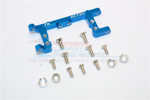 Kyosho Mini Inferno Aluminum Servo Mount With Screws & Shims (For Hitec, Jr Servo) - 1Pc Set Blue
