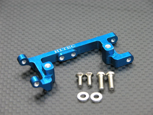 Kyosho Mini Inferno Aluminum Servo Mount With Screws & Shims (For Hitec Servo) - 1Pc Set Blue