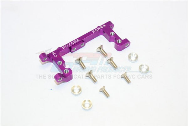 Kyosho Mini Inferno Aluminum Servo Mount With Screws & Shims (For Kopropo, Futaba, Sanwa) - 1Pc Set Purple