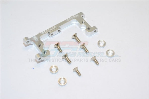 Kyosho Mini Inferno Aluminum Servo Mount With Screws & Shims (For Kopropo, Futaba, Sanwa) - 1Pc Set Silver
