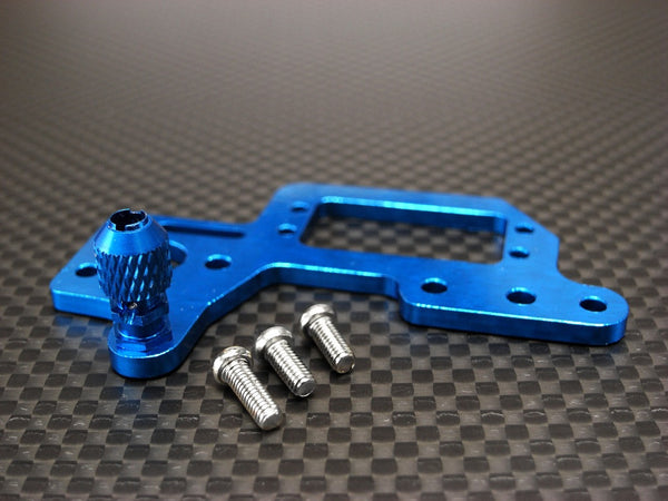 Kyosho Mini Inferno Aluminum Servo Mount Cover With Screws - 1Pc Set Blue