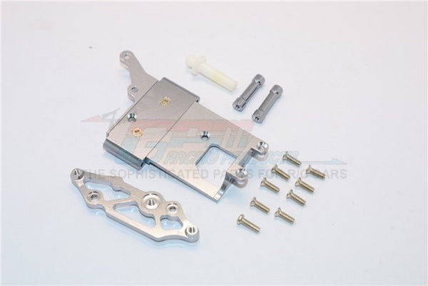 Kyosho Mini Inferno Aluminum Receiver Bottom Mount With Screws & Aluminum+Delrin Posts - 2Pcs Set Gray Silver