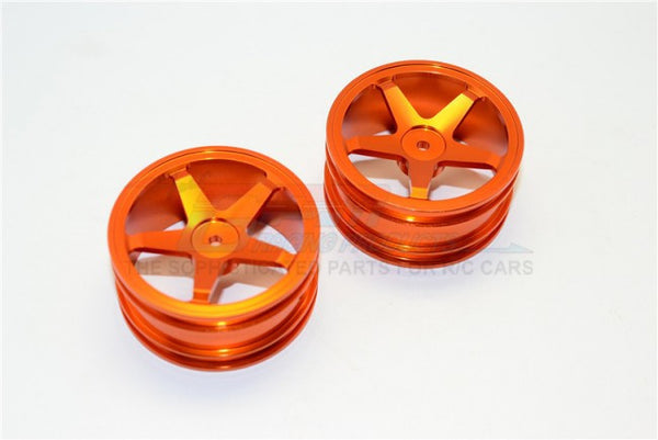 Kyosho Mini Inferno Aluminum Front/Rear Flat Rims (5 Poles) - 1Pr Set Orange