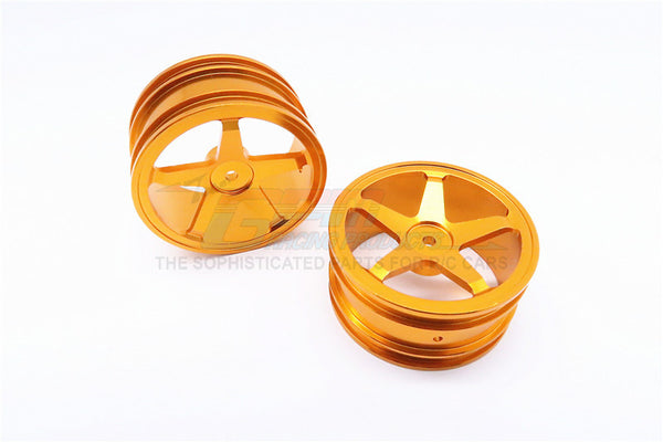 Kyosho Mini Inferno Aluminum Front/Rear Flat Rims (5 Poles) - 1Pr Set Gold