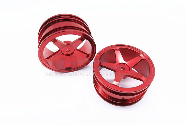 Kyosho Mini Inferno Aluminum Front/Rear Flat Rims (5 Poles) - 1Pr Set Red