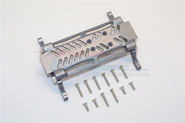 Axial SMT10 Grave Digger (AX90055) & MAX-D (AX90057) Aluminum Gear Box Bottom Mount - 1Pc Set Gray Silver