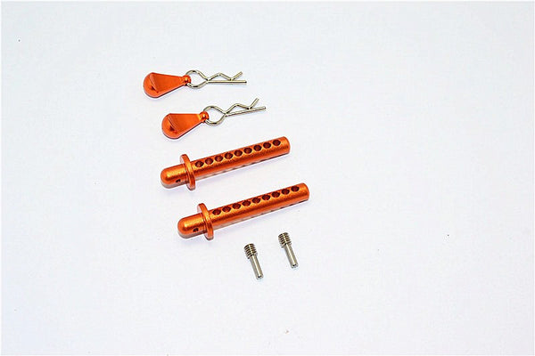 Axial SMT10 MAX-D (AX90057) Aluminum Front/Rear Body Post With Clip & Mount - 1 Set Orange