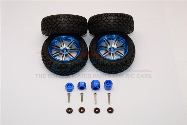 Axial Yeti Jr. SCORE Trophy Truck (AX90052) Aluminum Front & Rear Hex Adapters + Wheels & Tires - 16Pcs Set Blue