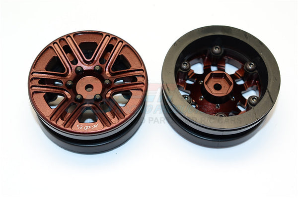 "Aluminum 6 Spokes 1.9"" Wheels With Plastic Wheel Frame - 2Pcs Set Brown"