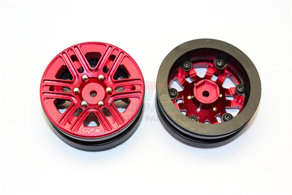"6 Spoke Mag Simulation Wheels In Silver Screws With 1.9"" Aluminum Rim - 1Pr Red"