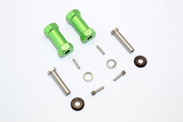 Axial RR10 Bomber Aluminum Wheel Hex Adapters 27mm Width (Use For 4mm Thread Wheel Shaft & 5mm Hole Wheel) - 1Pr Set Green
