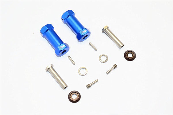 Axial RR10 Bomber Aluminum Wheel Hex Adapters 29mm Width (Use For 4mm Thread Wheel Shaft & 5mm Hole Wheel) - 1Pr Set Blue