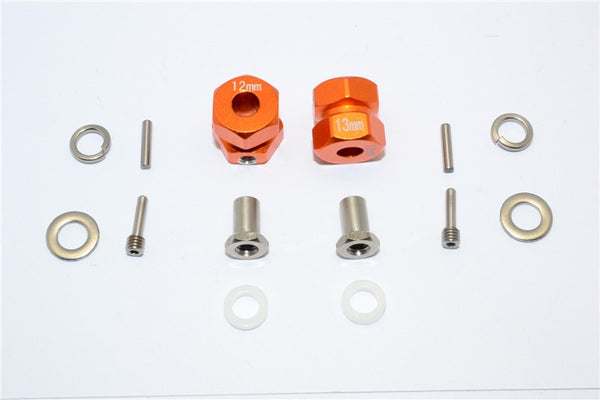 Axial RR10 Bomber Aluminum Wheel Hex Adapter (Inner 5mm, Outer 12mm, Thickness 13mm) - 2Pcs Set Orange