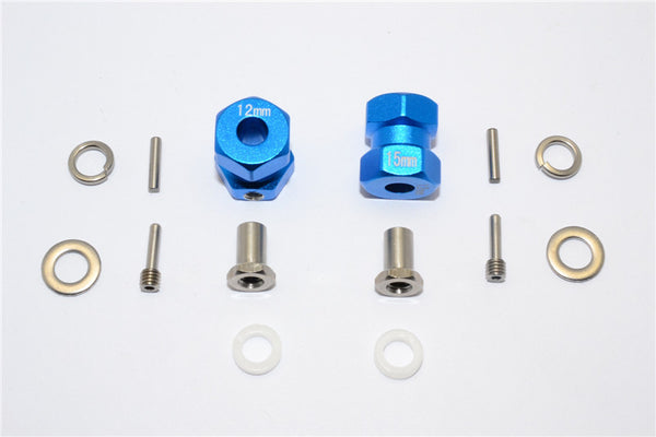 Axial RR10 Bomber Aluminum Wheel Hex Adapter (Inner 5mm, Outer 12mm, Thickness 15mm) - 2Pcs Set Blue