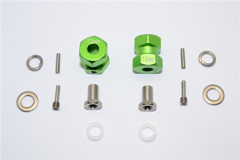2Pcs Set Green Axial RR10 Bomber Upgrade Parts Aluminum Wheel Hex Adapter Inner 5mm, Outer 12mm, Thickness 19mm