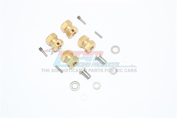 Brass Wheel Hex Adapters 15mm For Axial Wraith / Rr10 Bomber / SMT10 - 4Pc Set