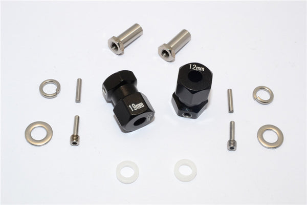 Axial RR10 Bomber Aluminum Wheel Hex Adapter (Inner 5mm, Outer 12mm, Thickness 19mm) - 2Pcs Set Black