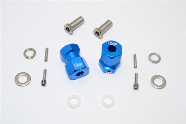 Axial RR10 Bomber Aluminum Wheel Hex Adapter (Inner 5mm, Outer 12mm, Thickness 19mm) - 2Pcs Set Blue