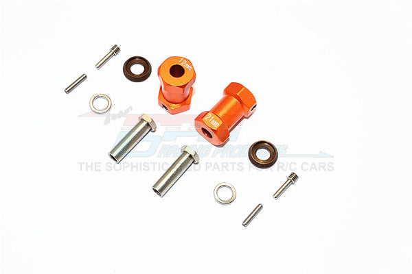 Axial RR10 Bomber Aluminum Wheel Hex Adapters 21mm Width (Use For 4mm Thread Wheel Shaft & 5mm Hole Wheel) - 1Pr Set Orange