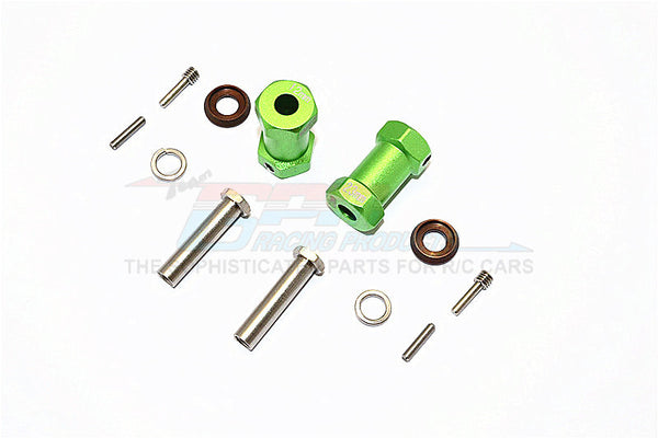 Axial RR10 Bomber Aluminum Wheel Hex Adapters 23mm Width (Use For 4mm Thread Wheel Shaft & 5mm Hole Wheel) - 1Pr Set Green