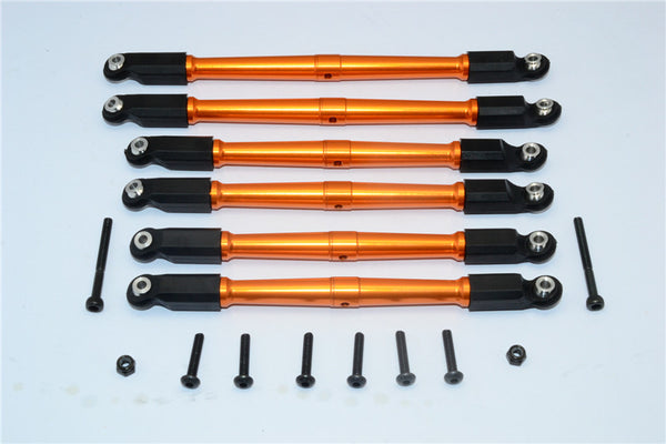 Axial RR10 Bomber Aluminum Front & Rear Link Parts - 6Pcs Set Orange